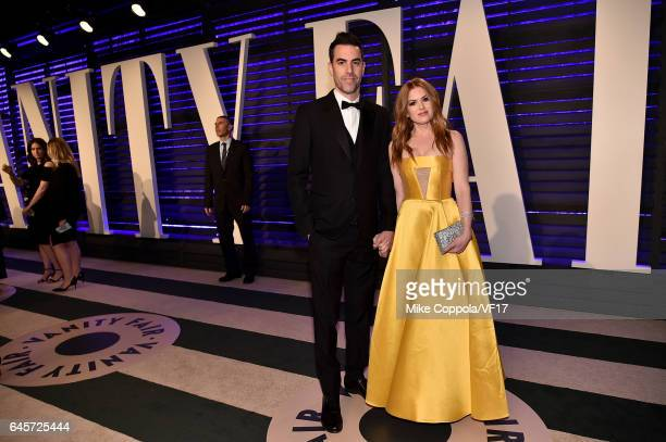 Actors Sacha Baron Cohen and Isla Fisher attend the 2017 Vanity Fair Oscar Party hosted by Graydon Carter at Wallis Annenberg Center for the...