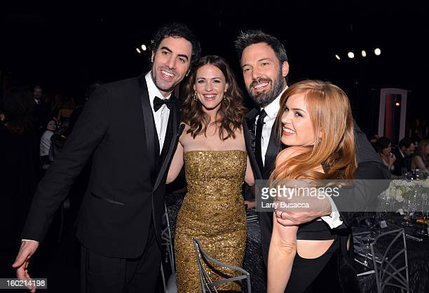 Actors Sacha Baron Cohen Jennifer Garner Ben Affleck and Isla Fisher attend the 19th Annual Screen Actors Guild Awards at The Shrine Auditorium on...