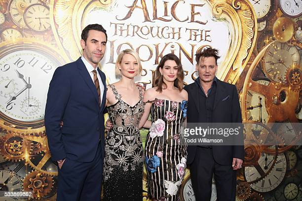Actors Sacha Baron Cohen Mia Wasikowska Anne Hathaway and Johnny Depp attend the premiere of Disney's 'Alice Through The Looking Glass' at the El...