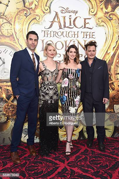 Actors Sacha Baron Cohen Mia Wasikowska Anne Hathaway and Johnny Depp attend Disney's 'Alice Through the Looking Glass' premiere with the cast of the...