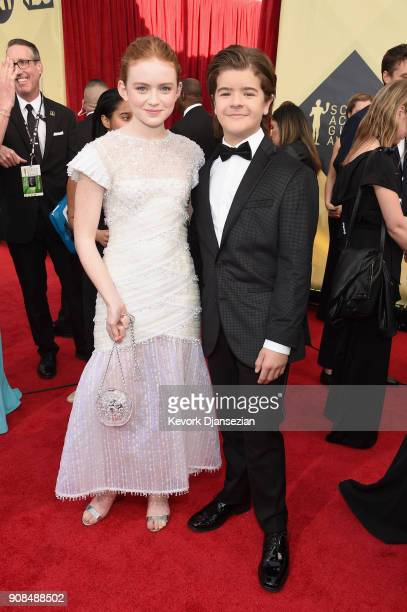 Actors Sadie Sink and Gaten Matarazzo attend the 24th Annual Screen Actors Guild Awards at The Shrine Auditorium on January 21 2018 in Los Angeles...