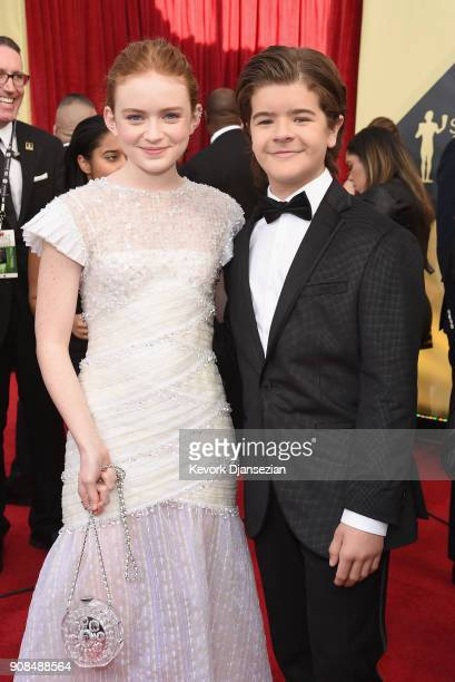 Actors Sadie Sink and Gaten Matarazzo attends the 24th Annual Screen ActorsGuild Awards at The Shrine Auditorium on January 21 2018 in Los Angeles...