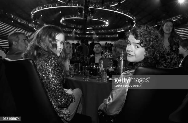 Actors Sadie Sink and Gaten Matarazzo during the 2018 MTV Movie And TV Awards at Barker Hangar on June 16 2018 in Santa Monica California