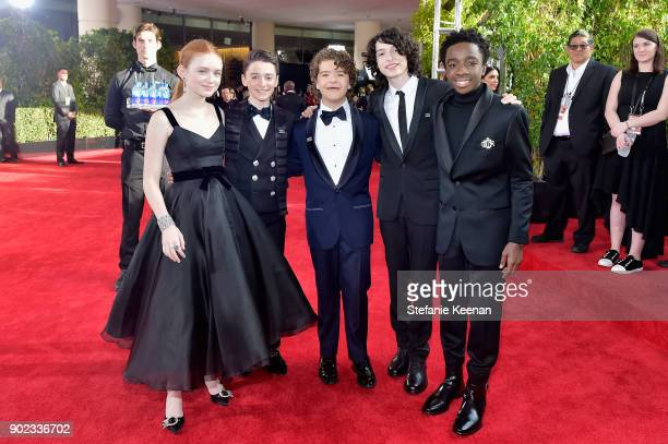 Actors Sadie Sink Noah Schnapp Gaten Matarazzo Finn Wolfhard and Caleb McLaughlin attend The 75th Annual Golden Globe Awards at The Beverly Hilton...