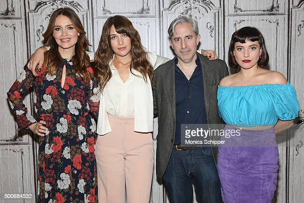 Actors Saffron Burrows and Lola Kirke writer director and producer Paul Weitz and actress Hannah Dunne visit AOL Studios for AOL BUILD Series 'Mozart...