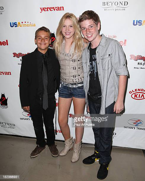 Actors Sage Ryan Saxon Sharbino and Jackson Pace attend the 'My Uncle Rafael' premiere at the Mann Chinese 6 on September 19 2012 in Los Angeles...