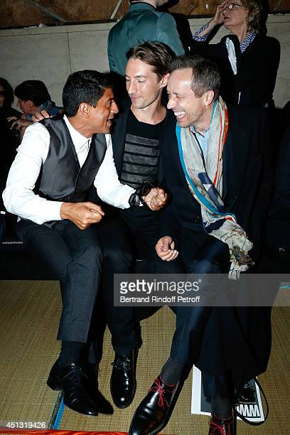 Actors Said Taghmaoui Benn Northover and Michael Wincott attend the Cerruti show as part of the Paris Fashion Week Menswear Spring/Summer 2015 on...