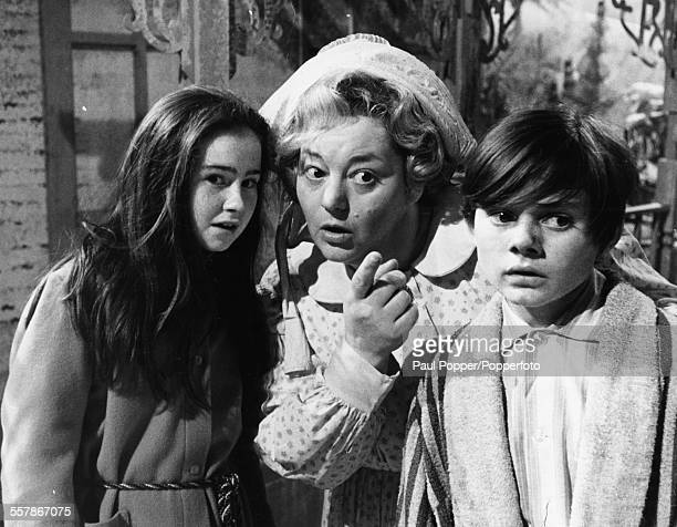 Actors Sally Ann Jones Hattie Jacques and Jack Wild pictured together in a scene from the television show 'Knock Three Times' circa 1968