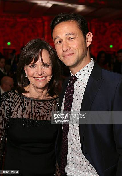 Actors Sally Field and Joseph GordonLevitt attend a Will Rogers Motion Picture Pioneers Foundation dinner honoring producer Kathleen Kennedy with the...