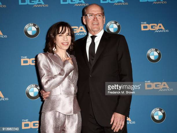 Actors Sally Hawkins and Richard Jenkins pose in the press room during the 70th Annual Directors Guild Of America Awards at The Beverly Hilton Hotel...