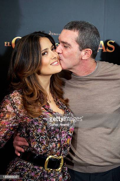 Actors Salma Hayek and Antonio Banderas attend 'El Gato con Botas' photocall at Villamagna Hotel on November 23 2011 in Madrid Spain