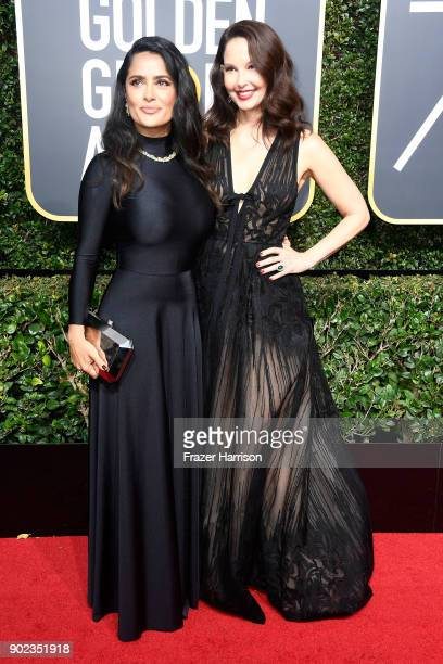 Actors Salma Hayek and Ashley Judd attend The 75th Annual Golden Globe Awards at The Beverly Hilton Hotel on January 7 2018 in Beverly Hills...