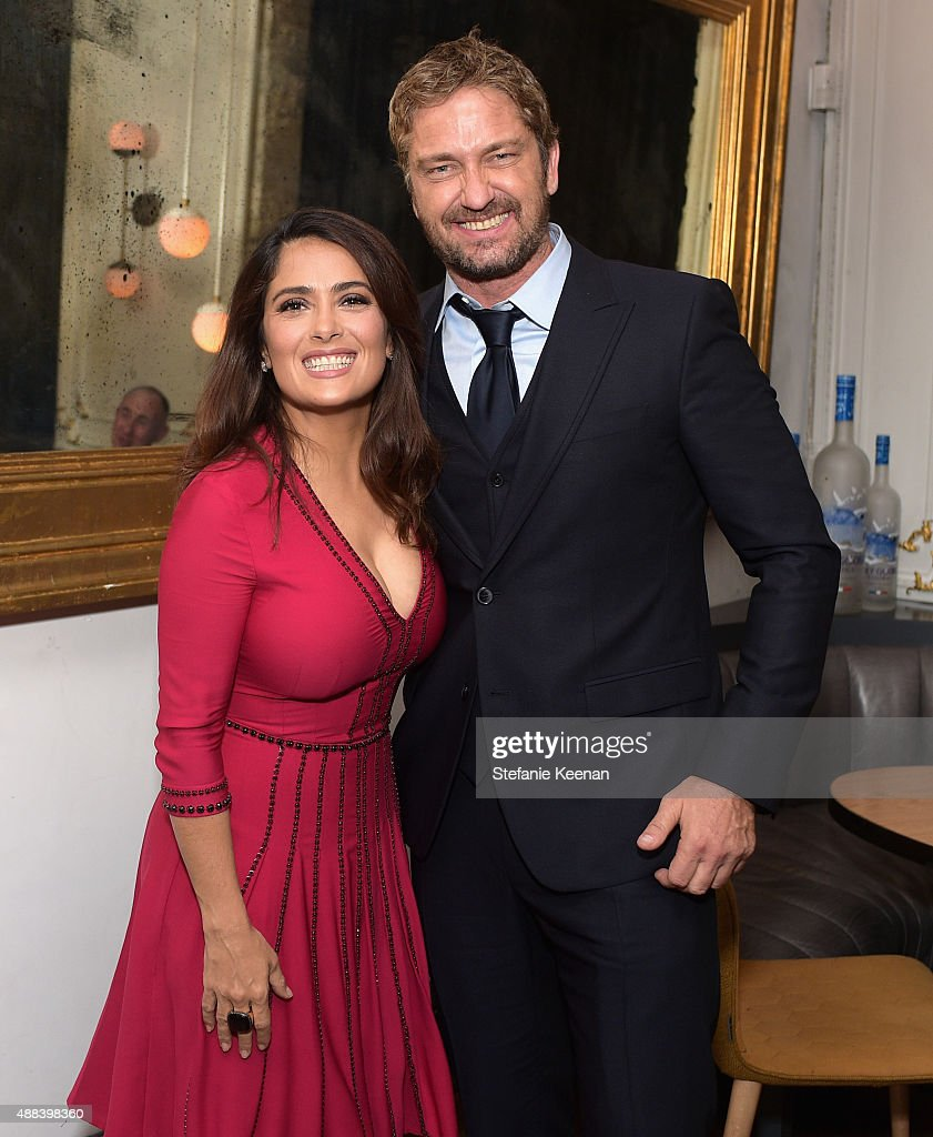 Actors Salma Hayek (L) and Gerard Butler attend the Septembers of Shiraz TIFF Party Hosted By GREY GOOSE Vodka at Byblos on September 15, 2015 in Toronto, Canada.