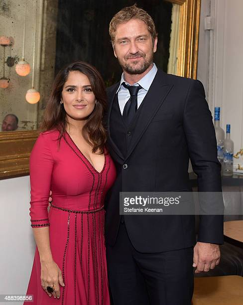 Actors Salma Hayek and Gerard Butler attend the Septembers of Shiraz TIFF Party Hosted By GREY GOOSE Vodka at Byblos on September 15 2015 in Toronto...