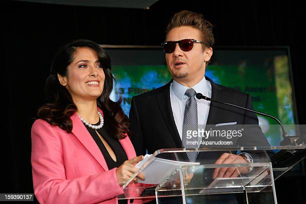 Actors Salma Hayek and Jeremy Renner speak onstage at the 2013 Film Independent Filmmaker Grant And Spirit Award Nominees Brunch at BOA Steakhouse on...