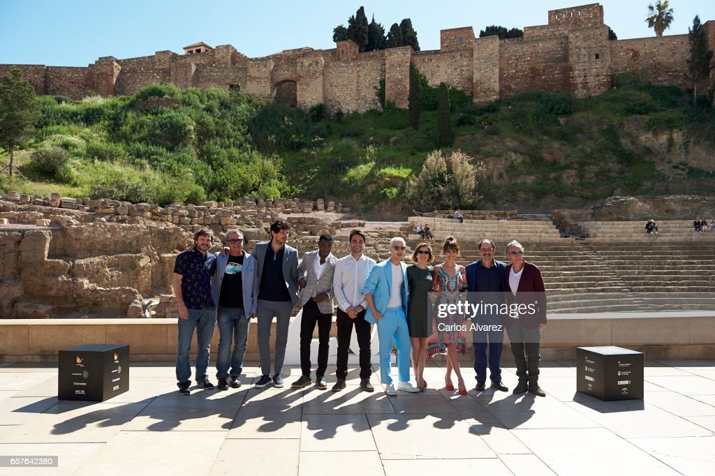 Actors Salva Reina, Antonio Perez, Andres Velencoso, Bore Buika, director Alvaro Diaz Lorenzo, Eduardo Casanova, Mercedes Gamero, Silvia Alonso and Jordi Sanchez attend the 'Senor, Dame Paciencia' photocall during the 20th Malaga Film Festival on March 25, 2017 in Malaga, Spain.