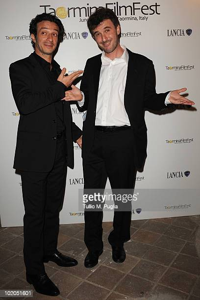 Actors Salvatore Ficarra and Valentino Picone attend a party at The Lancia Cafe during the Taormina Film Fest on June 13 2010 in Taormina Italy