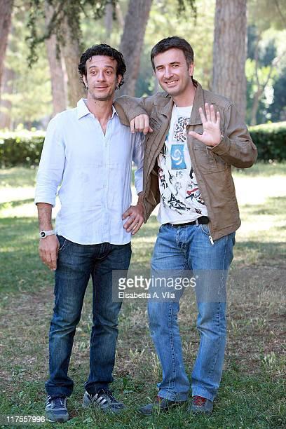 Actors Salvatore Ficarra and Valentino Picone attend a photocall for Medusa Film Programming Schedule presentation at Casa del Cinema on June 28 2011...