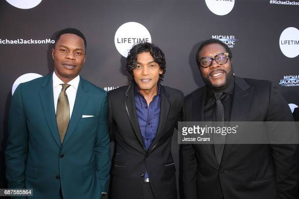Actors Sam Adegoke Navi and Chad L Coleman attend Lifetime's Michael Jackson Searching for Neverland Premiere Event at Avalon on May 23 2017 in...
