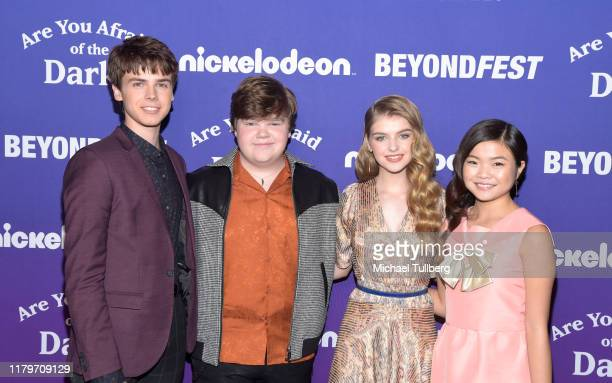 "Actors Sam Ashe Arnold, Jeremy Ray Taylor, Lyliana Wray and Miya Cech attend the premiere of Nickelodeon's ""Are You Afraid of the Dark?"" at 2019..."