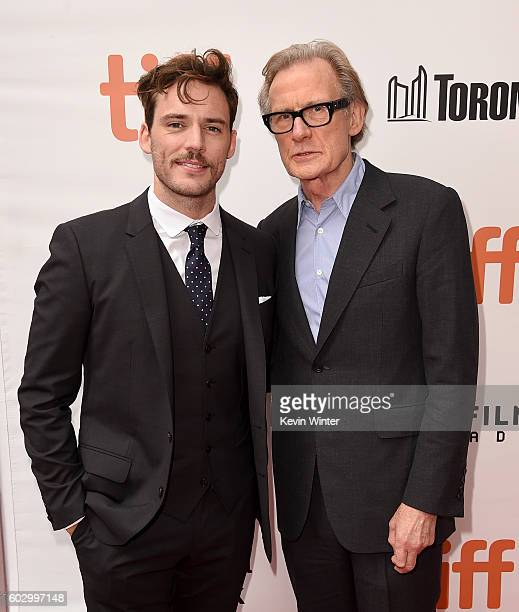 Actors Sam Claflin and Bill Nighy attend the 'Their Finest' premiere during the 2016 Toronto International Film Festival at Roy Thomson Hall on...