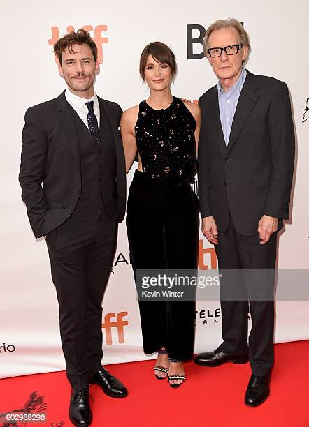 """Actors Sam Claflin, Gemma Arterton and Bill Nighy attend the """"Their Finest"""" premiere during the 2016 Toronto International Film Festival at Roy..."""