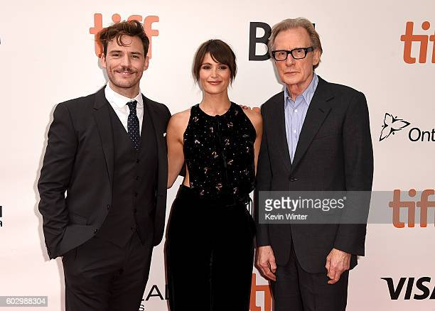 Actors Sam Claflin Gemma Arterton and Bill Nighy attend the 'Their Finest' premiere during the 2016 Toronto International Film Festival at Roy...