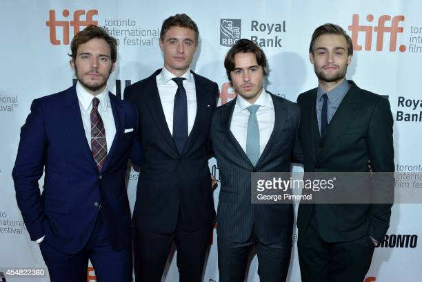 Actors Sam Claflin Max Irons Ben Schnetzer and Douglas Booth attend The Riot Club premiere during the 2014 Toronto International Film Festival at Roy...