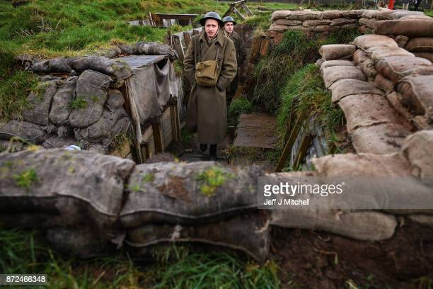 Actors Sam Duncane and Jake Morgan from the Sommeinspired West End production The Wipers Times pose for photographs in a recreated First World War...