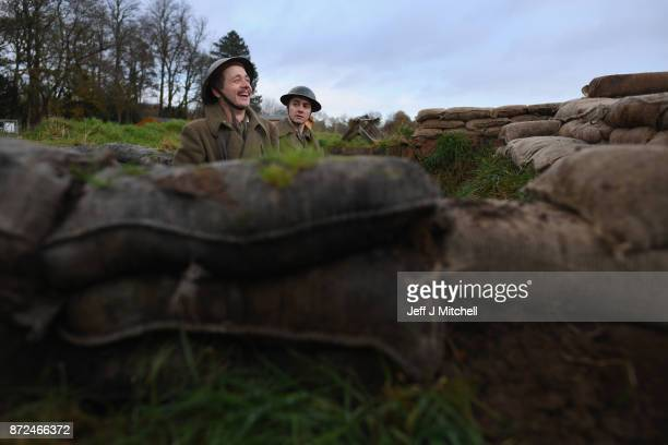 Actors Sam Duncane and Jake Morgan, from the Somme-inspired West End production The Wipers Times pose for photographs in a recreated First World War...