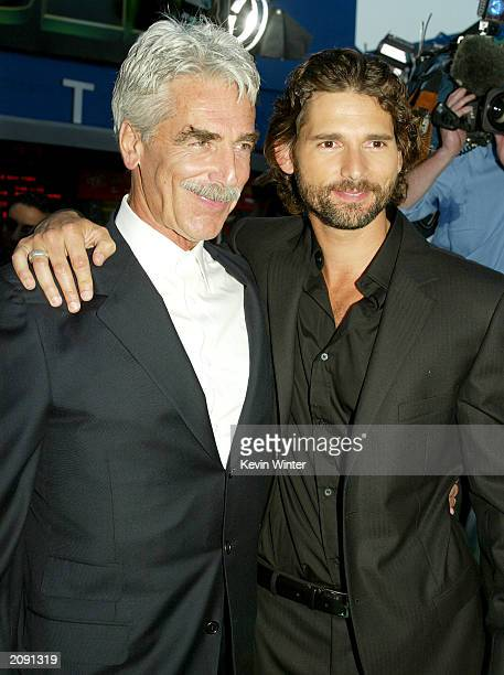 Actors Sam Elliot and Eric Bana who plays the Hulk and wife Rebecca Gleeson attend the world premiere of the movie 'The Hulk' at Universal Studios on...