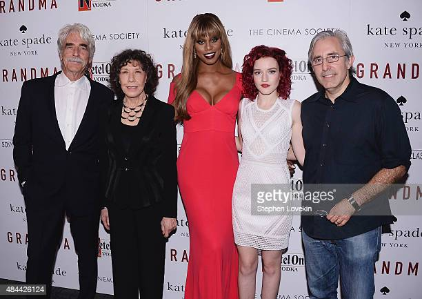 Actors Sam Elliott Lily Tomlin Laverne Cox Julia Garner pose with director Paul Weitz at screening of Sony Pictures Classics' 'Grandma' hosted by The...