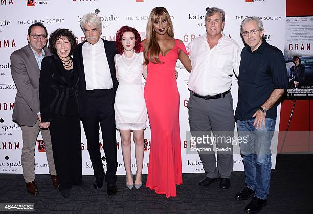Actors Sam Elliott Lily Tomlin Laverne Cox Julia Garner pose with director Paul Weitz and guests at screening of Sony Pictures Classics' 'Grandma'...