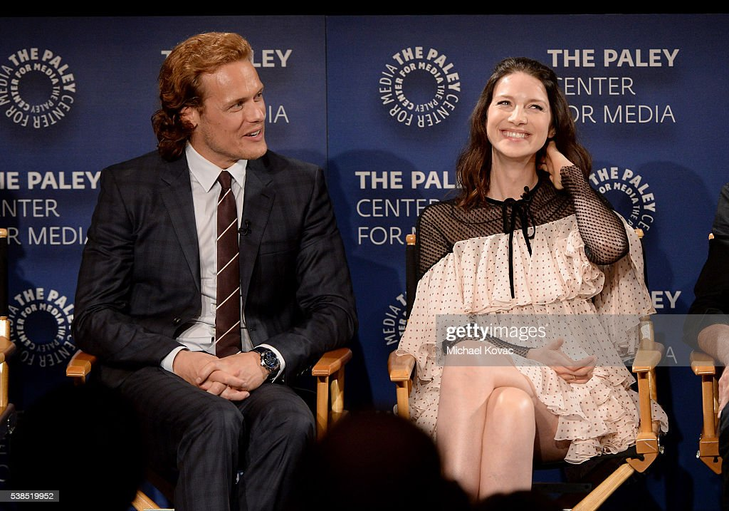 Actors Sam Heughan (L) and Caitriona Balfe attend The Paley Center for Media presents The Artistry of 'Outlander' at The Paley Center for Media on June 6, 2016 in Beverly Hills, California.