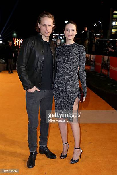 Actors Sam Heughan and Caitriona Balfe attend the 'T2 Trainspotting' world premiere on January 22 2017 in Edinburgh United Kingdom