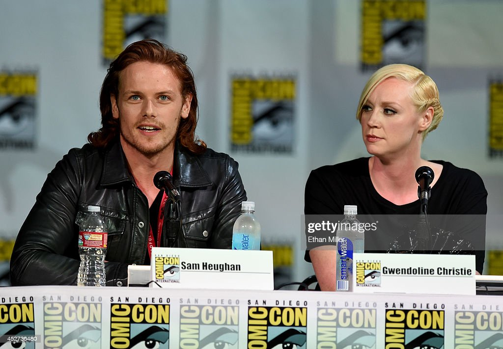 Actors Sam Heughan (L) and Gwendoline Christie attend the TV Guide Magazine: Fan Favorites panel during Comic-Con International 2014 at the San Diego Convention Center on July 26, 2014 in San Diego, California.