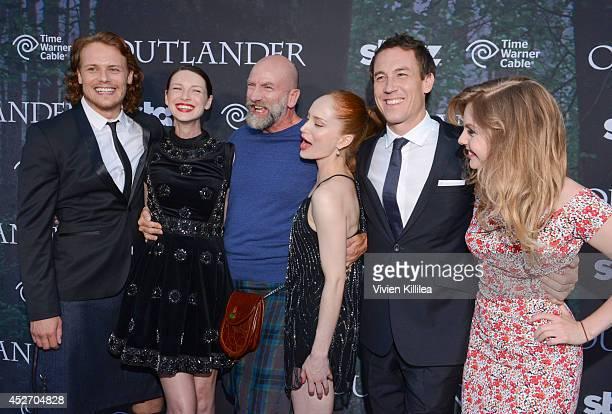 "Actors Sam Heughan, Caitriona Balfe, Graham McTavish, Lotte Verbeek, Tobias Menzies and Nell Hudson attend the Starz Series ""Outlander"" Premiere -..."