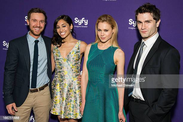 Actors Sam Huntington Meaghan Rath Kristen Hager and Sam Witwer attend the 2013 Syfy Upfront at Silver Screen Studios at Chelsea Piers on April 10...