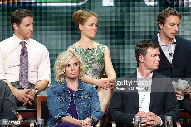 Actors Sam Jaeger Erika Christensen Dax Shepard Monica Potter and Peter Krause speak onstage during the 'Parenthood' panel discussion at the NBC...