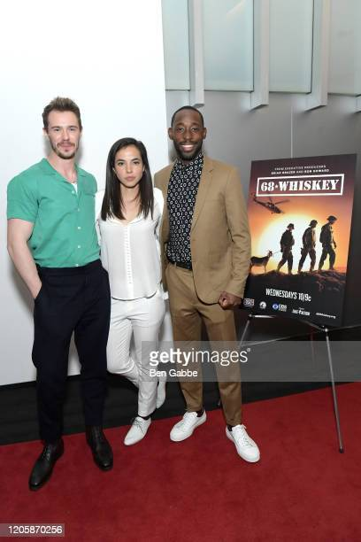Actors Sam Keeley Cristina Rodlo and Jeremy Tardy attend the Paramount Network 68 Whiskey USO Screening Event at ViacomCBS NYC Headquarters on...