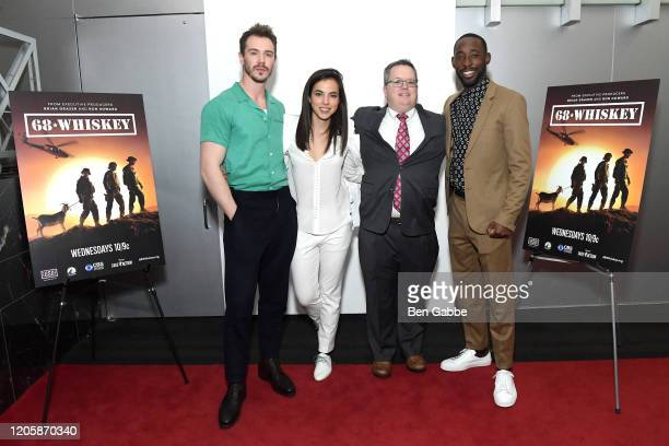 Actors Sam Keeley Cristina Rodlo and Jeremy Tardy pose with a guest during the Paramount Network 68 Whiskey USO Screening Event at ViacomCBS NYC...