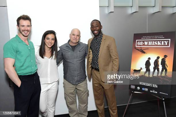 Actors Sam Keeley Cristina Rodlo and Jeremy Tardy pose with a guest the Paramount Network 68 Whiskey USO Screening Event at ViacomCBS NYC...