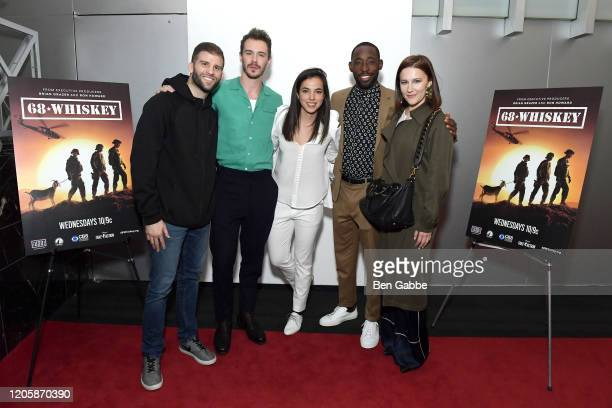 Actors Sam Keeley Cristina Rodlo and Jeremy Tardy pose with guests during the Paramount Network 68 Whiskey USO Screening Event at ViacomCBS NYC...