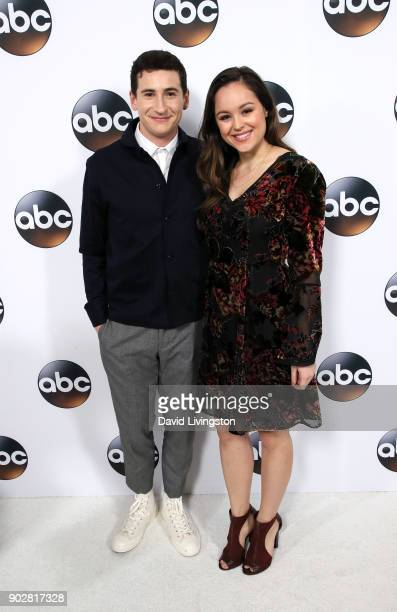 Actors Sam Lerner and Hayley Orrantia attend Disney ABC Television Group's TCA Winter Press Tour 2018 at The Langham Huntington Pasadena on January 8...