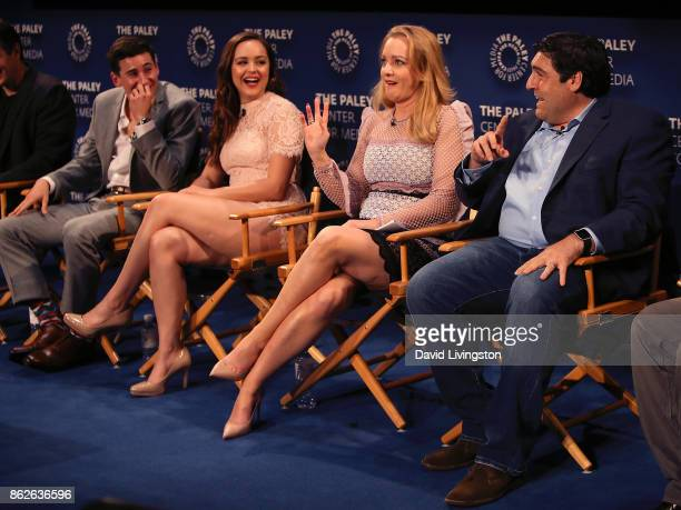 Actors Sam Lerner Hayley Orrantia and Wendi McLendonCovey and executive producer Adam F Goldberg attend 'The Goldbergs' 100th episode celebration at...
