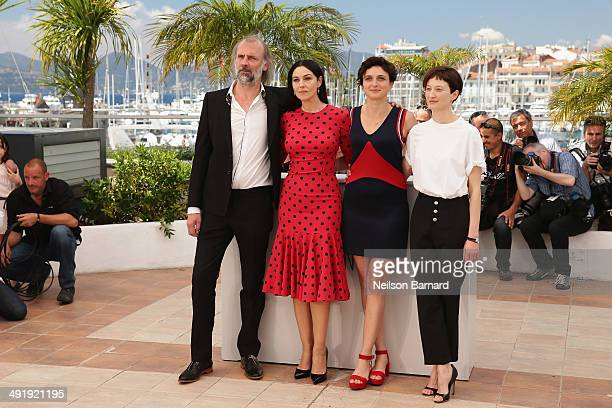 Actors Sam Louwyck Monica Bellucci director Alice Rohrwacher and actress Alba Rohrwacher attend the 'La Meraviglie' photocall during the 67th Annual...