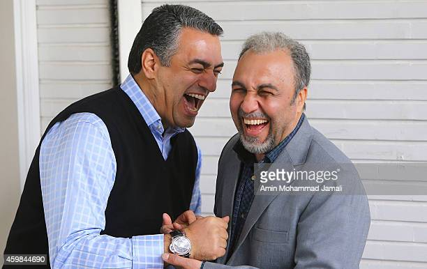 Actors Sam Nouri and Reza Ataran look on during 'Sperm Whale' Movie on on December 2 2014 in Tehran Iran