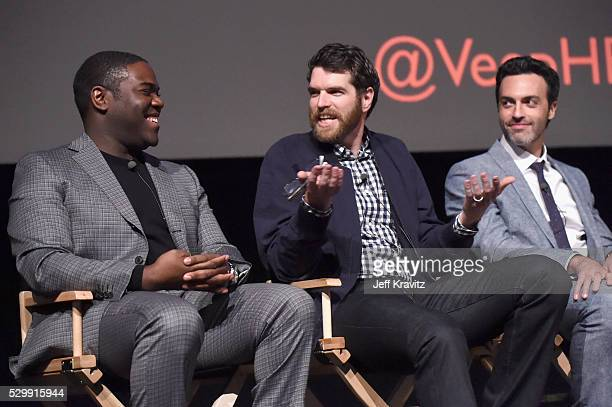 Actors Sam Richardson Timothy Simons and Reid Scott speak onstage during the 'VEEP' FYC panel at Paramount Studios on May 9 2016 in Hollywood City