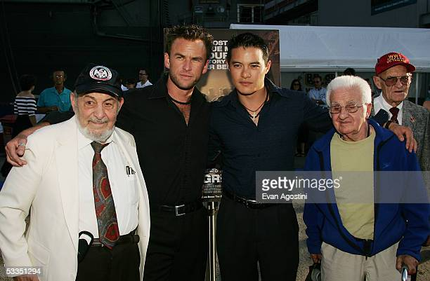 Actors Sam Robinson and Jourdan Lee Khoo pose with WWII veterans George Anastasio and Felix Zema at a special screening of Miramax's The Great Raid...