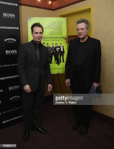 Actors Sam Rockwell and Christopher Walken attend The Cinema Society with Hugo Boss and Appleton Estate screening of 'Seven Psychopaths' at Clearview...